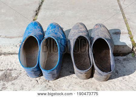 Rural Footwear. Golosha And Slippers Dry.