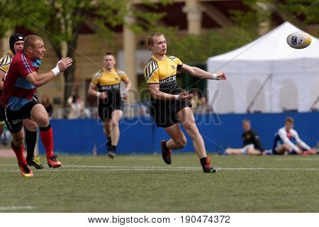ST. PETERSBURG, RUSSIA - MAY 27, 2017: Match team St. Petersburg (black and yellow shirt) vs White Wolfs, Moldova during Rugby Europe Sevens Club Champion's Trophy.