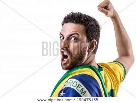 Fan / Sport Player holding Brazilian flag