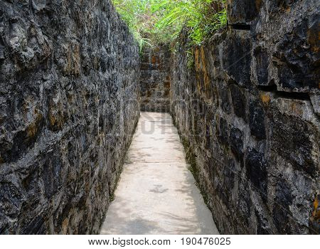 Stone Tunnel Of Ancient Fort At Cat Ba Island