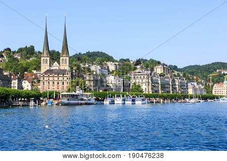 View of the city of Lucerne and its lake Luzern (Lucerne) Switzerland.