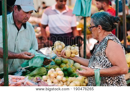 Picui, Paraiba, Brazil - June 3, 2017 - Elderly Woman Shopping At The Local Farmers Market In Brazil