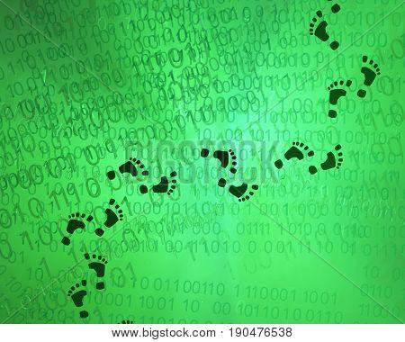 Virtual reality footprints green abstract 3d illustration horizontal