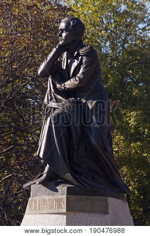 PYATIGORSK,RUSSIA -OCTOBER 12, 2014:The best in the Russian monument poet Mikhail Yurievich Lermontov in Pyatigorsk, Northern Caucasus,Russia (sculptor Opekushin 1889)