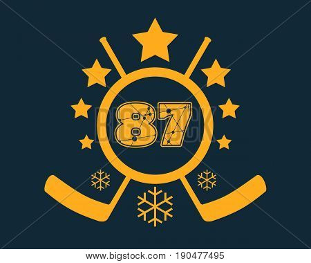 87 number vector illustration. Classic style Sport Team font. Numbers decorated by lines and dots pattern. Ice Hockey Emblem