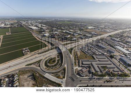 Aerial view of Rive Ave crossing the Ventura 101 Freeway in Ventura County, California.