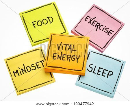 vital energy concept - food, exercise, mindset and sleep handwritten on colorful sticky notes isolated on white