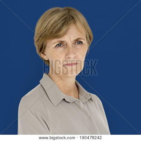 Lonely Senior Adult Woman Sad Studio Portrait