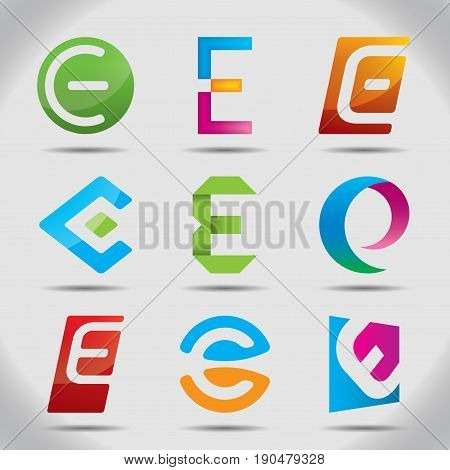Nine Abstract Icons Set with colorful logos based on the letter E vector illustration