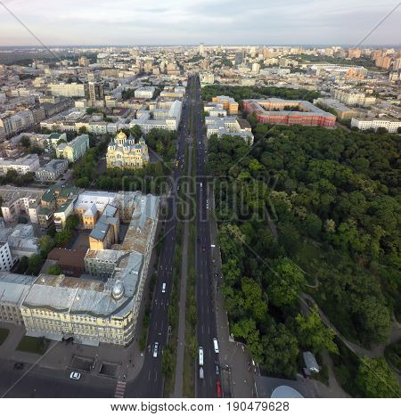 aerial view of the Boulevard of Shevchenko and St. Vladimir's Cathedral, Kiev, Ukraine