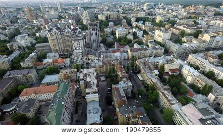 aerial view of summer Kiev, Ukraine,