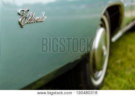 PAAREN IM GLIEN GERMANY - JUNE 03 2017: Fragment of a full-size personal luxury car Cadillac Eldorado (Seventh generation). Exhibition