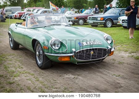 PAAREN IM GLIEN GERMANY - JUNE 03 2017: Sports car Jaguar E-Type Mk2. Exhibition