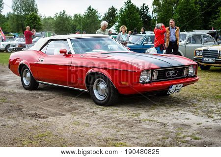 PAAREN IM GLIEN GERMANY - JUNE 03 2017: Pony car Ford Mustang convertible 1973. Exhibition