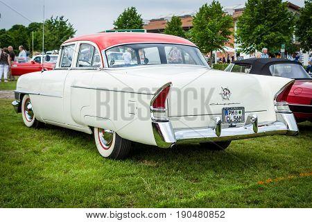 PAAREN IM GLIEN GERMANY - JUNE 03 2017: Vintage car packard Clipper DeLuxe 1956. Rear view. Exhibition