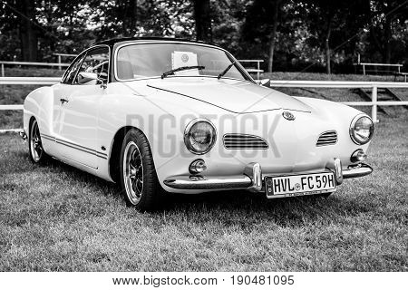 PAAREN IM GLIEN GERMANY - JUNE 03 2017: Sports car Volkswagen Karmann Ghia Typ 14. Black and white. Exhibition