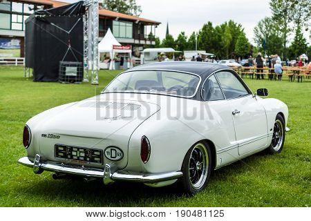 PAAREN IM GLIEN GERMANY - JUNE 03 2017: Sports car Volkswagen Karmann Ghia Typ 14. Rear view. Exhibition