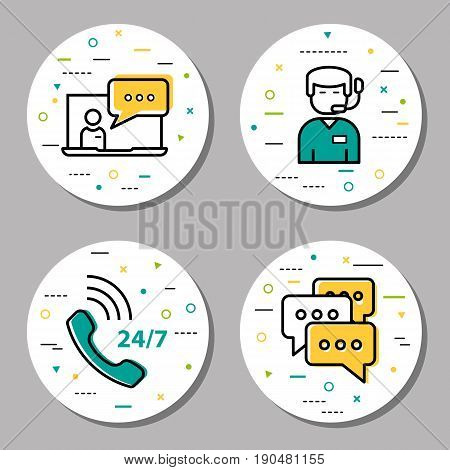 Vector four round online support linear icons with additional elements. Chatting for help, message communication, male technical assistant and round the clock consultation