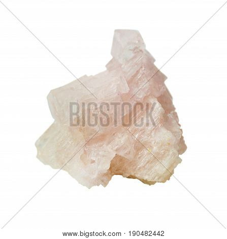 Geological sample of natural pink mineral of halite - table salt crystals isolated on white background