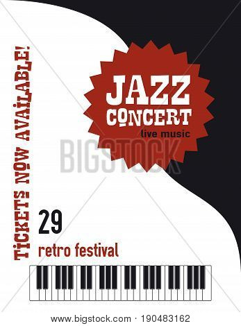Jazz music festival poster background template keyboard with music notes flyer design
