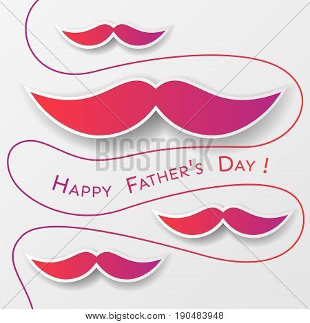 Father's Day greeting card with red paper whiskers and curl