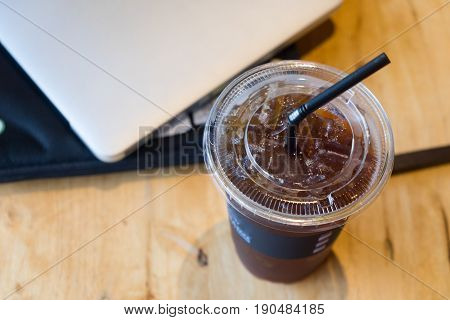 iced americano top view close up at office