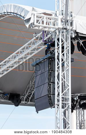 Concert Sound And Lighting Equipment On Outdoor Stage