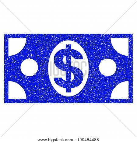 Grunge Dollar Banknote icon with grunge design and dirty texture. Unclean vector blue pictogram for rubber seal stamp imitations and watermarks. Draft sticker symbol.