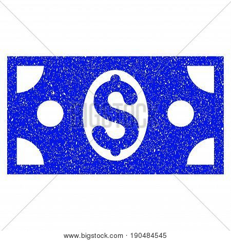 Grunge Dollar Banknote icon with grunge design and scratched texture. Unclean vector blue pictogram for rubber seal stamp imitations and watermarks. Draft sign symbol.