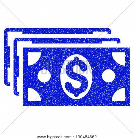 Grunge Dollar Banknotes icon with grunge design and dirty texture. Unclean vector blue pictogram for rubber seal stamp imitations and watermarks. Draft emblem symbol.