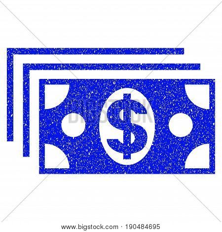 Grunge Dollar Banknotes icon with grunge design and dust texture. Unclean vector blue pictogram for rubber seal stamp imitations and watermarks. Draft sign symbol.