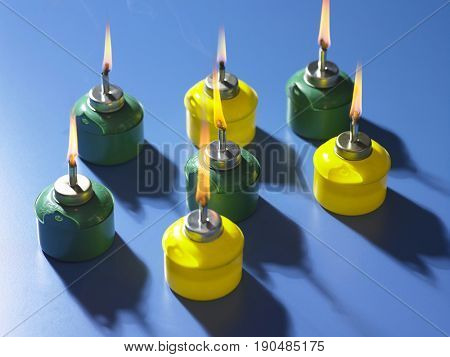 Pelita, or Oil Lamp,  with word on the container greeting for muslim event selamat hari raya  not a logo