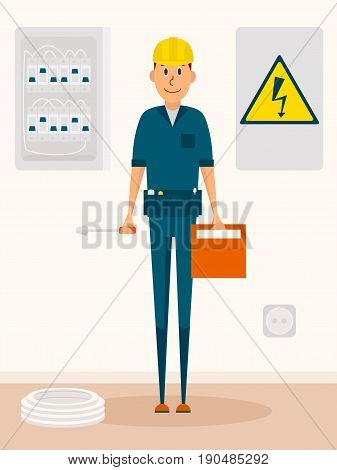 Electrician vector cartoon character. Electric service man with toolbox and screwdriver in hands. High voltage sign