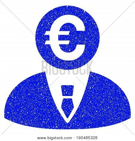 Grunge Euro Banker icon with grunge design and dust texture. Unclean vector blue pictogram for rubber seal stamp imitations and watermarks. Draft sticker symbol.