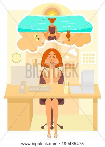 Woman works in the office and dreams about going to summer vacation to the beach. Girl dreaming about meditation at the sea. Vector cartoon character in flat style design
