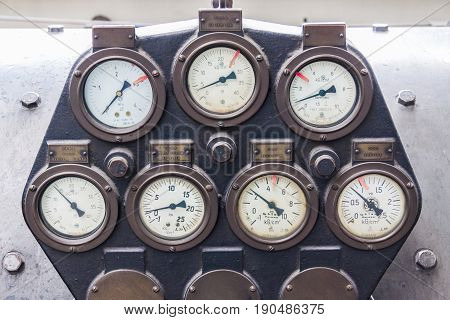 View on old Manometers of steam turbine.