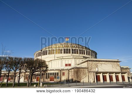 Hala Stulecia (Centennial Hall) also known as Hala Ludowa (People's Hall) in Wroclaw Poland UNESCO World Heritage Site
