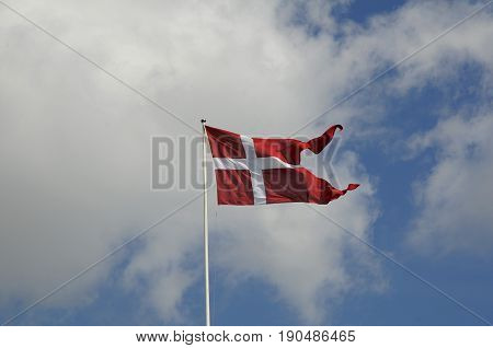 Copenhagen /Denmark - 05 June 2017. _Danish flag or dannebrog red and white (Photo.Francis Joseph Dean/Deanpictures)