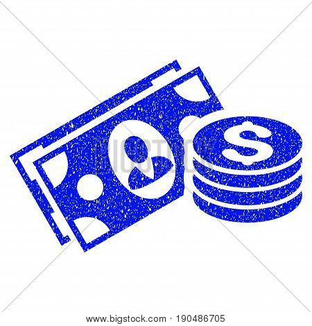 Grunge Money Cash icon with grunge design and dirty texture. Unclean vector blue pictogram for rubber seal stamp imitations and watermarks. Draft sticker symbol.