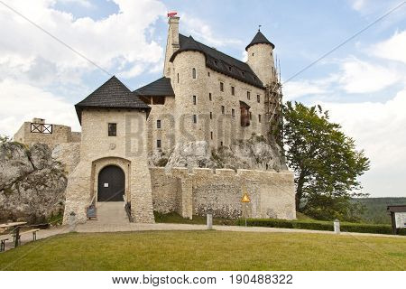 View on front of Bobolice Castle in Silesia region - Poland.