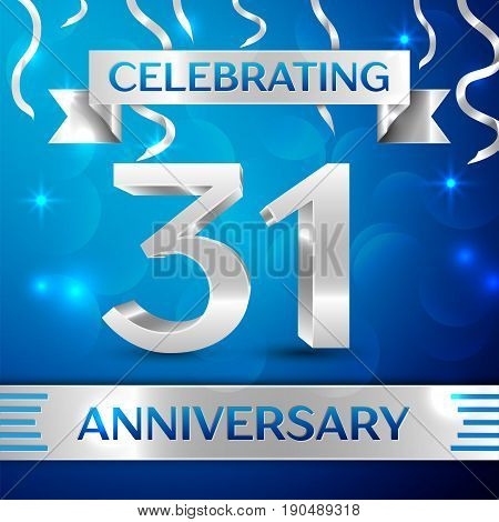 Thirty one Years Anniversary Celebration Design. Confetti and silver ribbon on blue background. Colorful Vector template elements for your birthday party. Anniversary ribbon