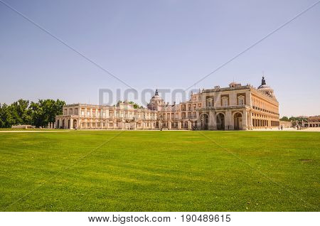 Royal palace of Aranjuez side view. historic artistic grouping in the province of Madrid Spain