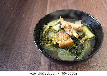 cooking soup chinese vegetable stew have streaky pork and Chicken legs