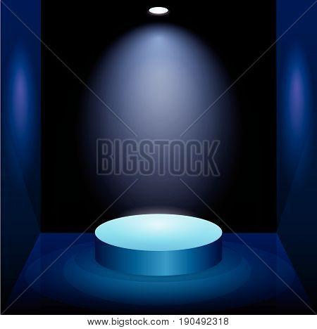 Black Empty Photo Studio with blue light lamp