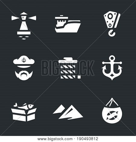 Lighthouse, ship, crane lift, captain, rope, anchor, box, embankment, trawl.