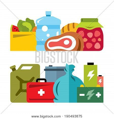 Provision for camping or hiking, food, fuel, energy. Isolated on a white background