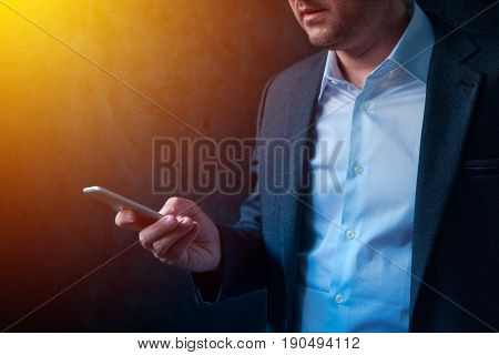 Mobile banking in business and entrepreneurship entrepreneur and businessman using mobile phone app for electronic payment