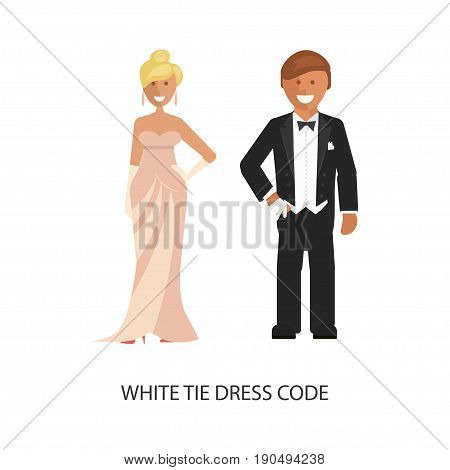 White tie dress code. Man and woman in smart casual style suits isolated on white background. Vector illustration of people in formal clothes.