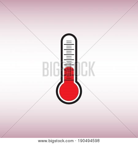Thermometer vector flat icon. Thermometer vector sign isolated at pink background. Temperature measurement vector illustration.