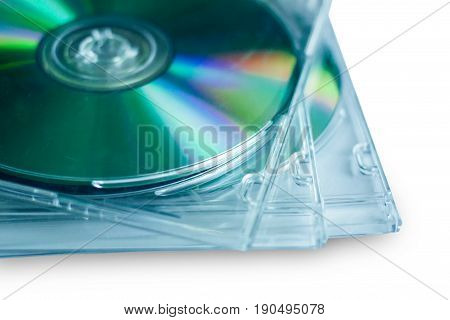 Cd disc for data storage on white background